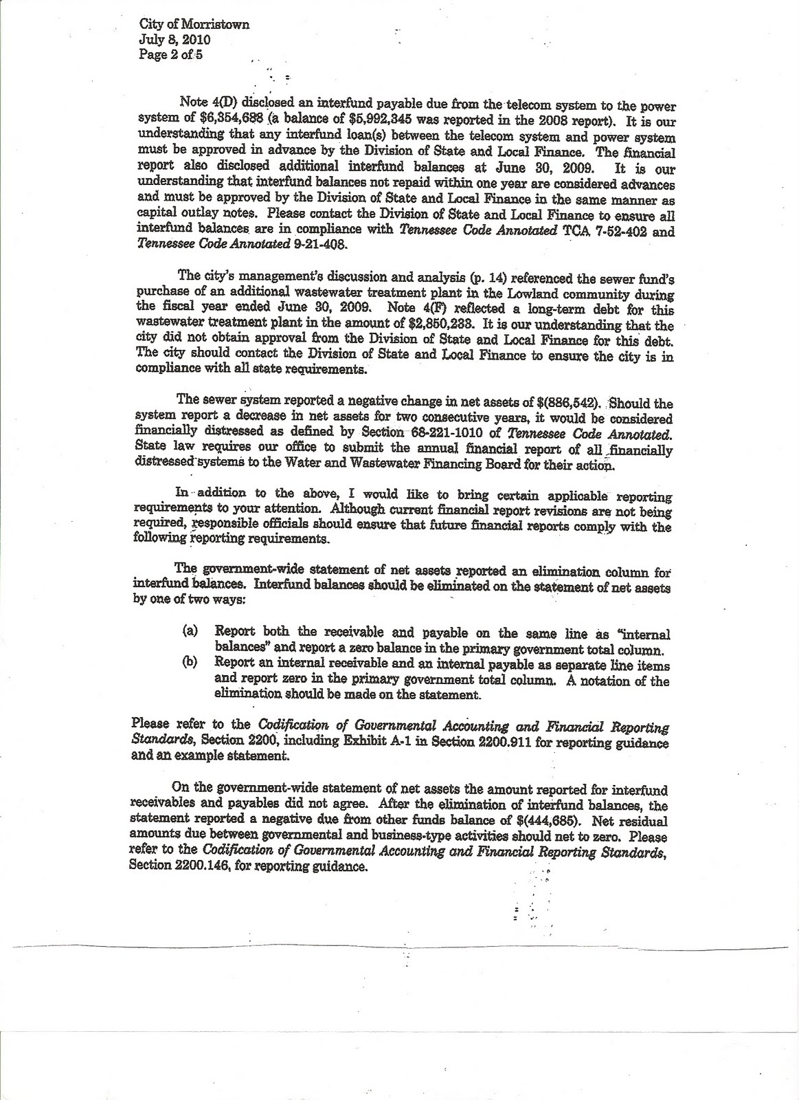 the above letter to the mayor and city council from the state comptrollers office was one item briefly discussed at the councils august 2010 retreat in