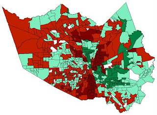 Clinton - Green, Obama - Red