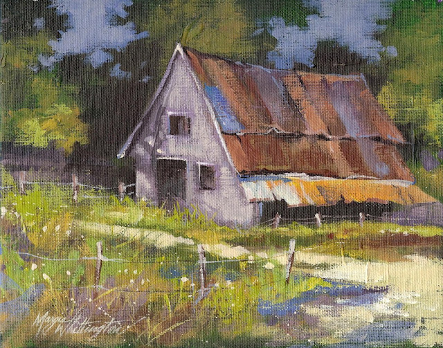 Margie whittington art old barn for Watercolor barn paintings
