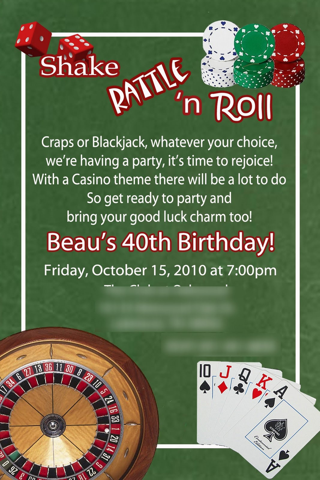 Casino themed birthday party invitations / Slot dean martin