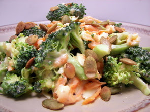 Broccoli-Cheddar Salad with Toasted Pepitas