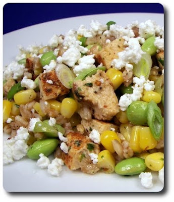 Chicken, Corn, Edamame and Farro Salad with Goat Cheese