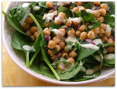 Chickpea & Spinach Salad with Cumin Dressing - RecipeGirl