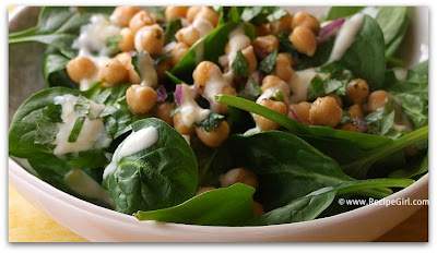 Chickpea & Spinach Salad with Cumin Dressing - RecipeGirl