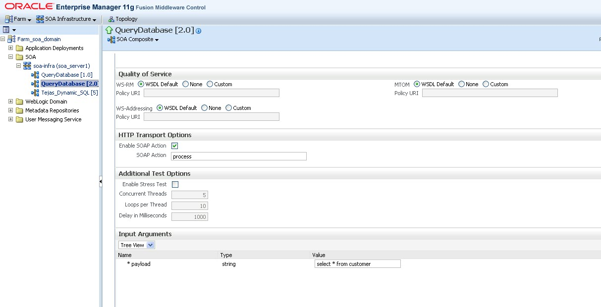 Learning SOA: How to use function query-database() to return data