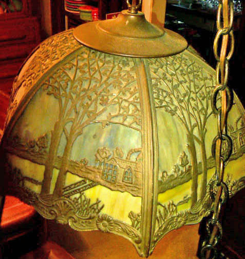 Huntsville antique show june 2010 handel hanging lamp brass overlay slag glass mozeypictures Choice Image