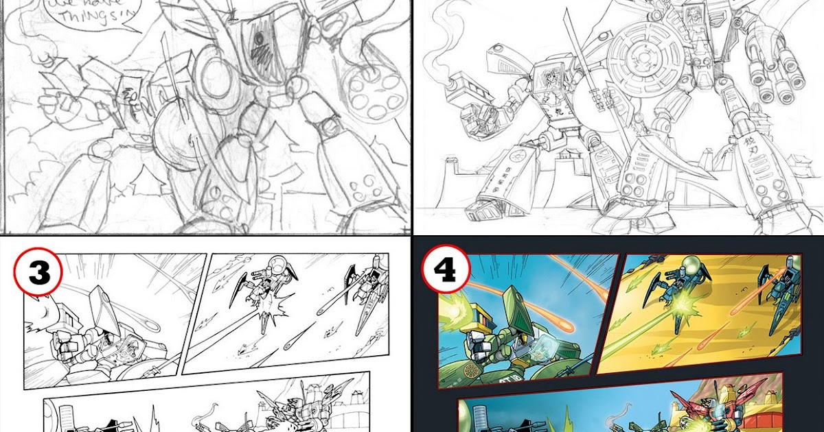 David White Illustration LEGO Exo Force Comic Step By