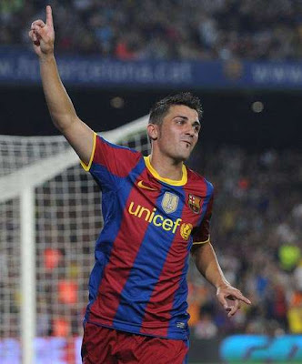 David Villa Barcelona Football Picture