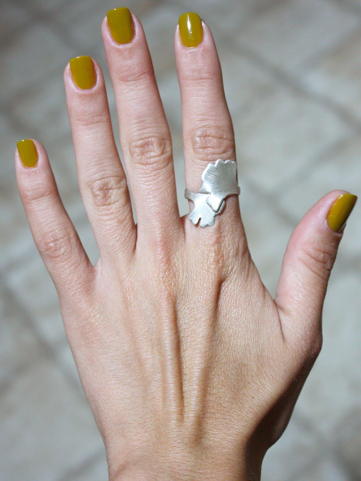 Dijon Mustard Nail Polish Combined With Pacci S Gingko Ring