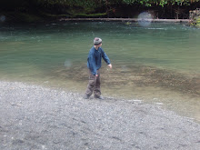 Tanner skipping rocks, this was fun!