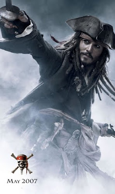 Johnny Depp As Captain Jack Sparrow in movie Pirates of the Caribbean