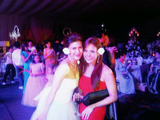 Roxanne with Gretchen Fullido at the wedding reception