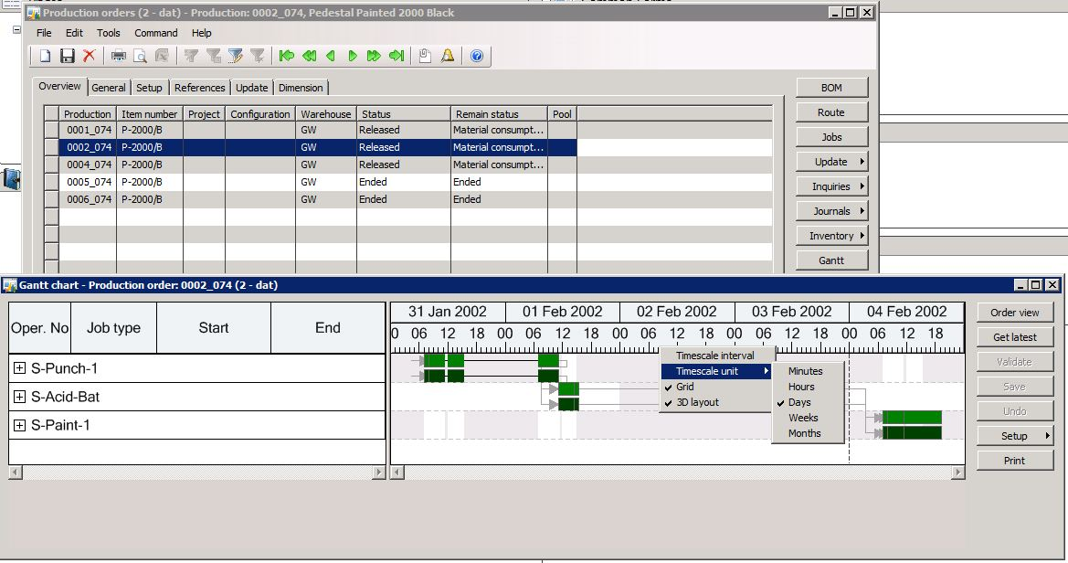 Activex Gantt Chart Control In Dynamics Ax Microsoft Dynamics Ax