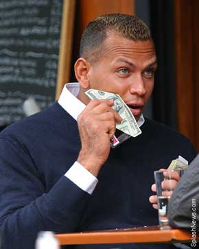 Alex Rodriguez using a $100 bill as a napkin