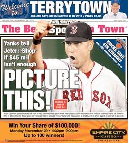 New York Post photoshops Derek Jeter in a Red Sox uniform