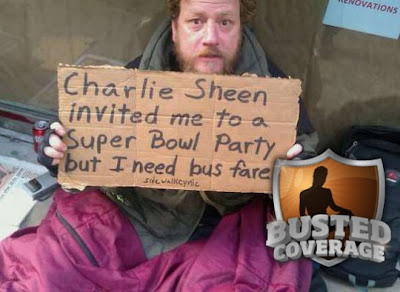 Homeless man says he needs bus fare to get to Charlie Sheen's Super Bowl party