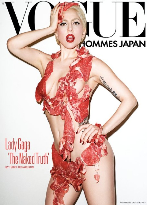 Super skinny Lady Gaga covered with meat is not really news either as we
