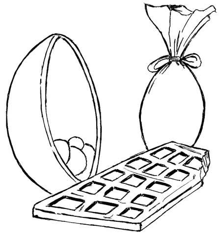 desenho para colorir de páscoa barra de chocolate desenhos para