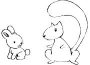 Desenhos de animais para pintar coelho e castor. Desenho infantil colorir