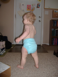 13 month old baby wearing Fuzzibunz cloth diaper