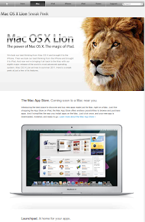 Mac OSX Lion apple website snapshot