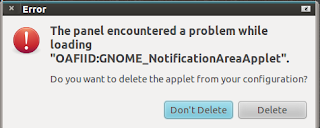 The panel encountered a problem while loading Gnome desktop applet