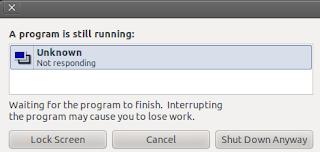 Both CPU running almost 100% on ubuntu 10.10 a program still running shut down message