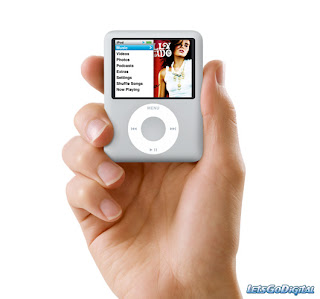 This is a picture of hand holding a sliver nano ipod. The screen of the ipod lists some of the features that are available on a ipod.