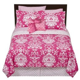 Hot pink damask bedding reanimators