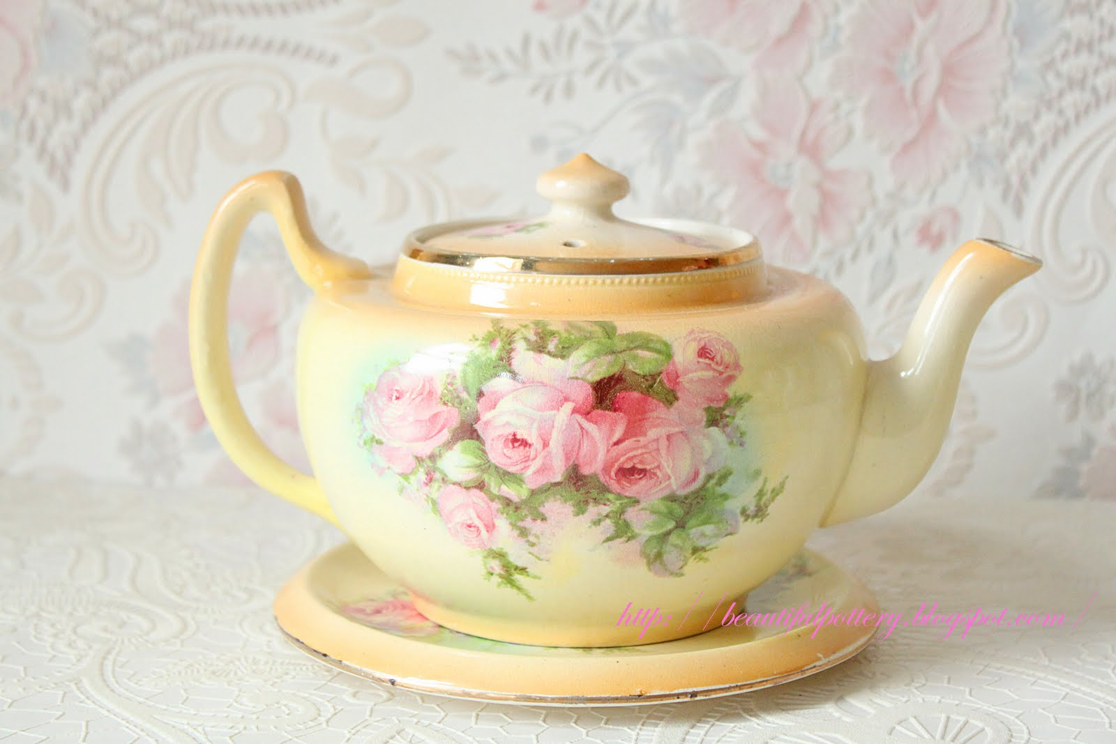 Beautiful Pottery Vintage Teapot With Stand
