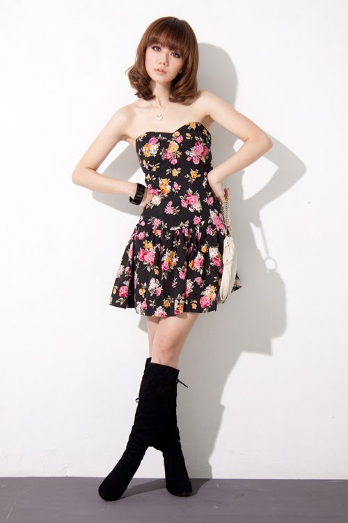 fashion suicide floral tube dress