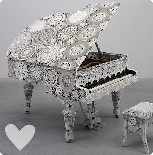 crochet lace covered grand piano