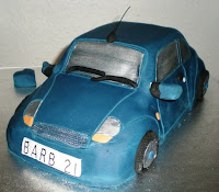 cake looks like small blue car