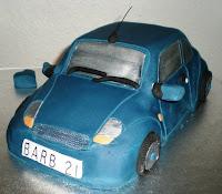 cake looks like small blue car