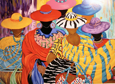 painting of six women in brightly colored dresses and hats