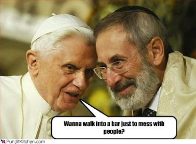 The pope and a rabbi. Caption says let's walk into a bar just to mess with people