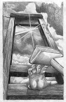 hand reaching through a guillotine for books that are falling away