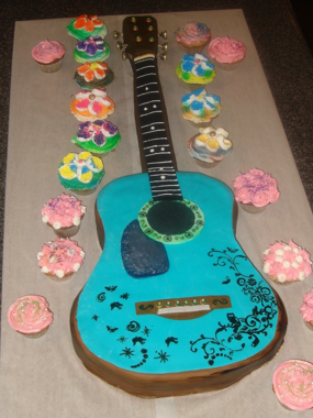 cake shaped and decorated to look like an acoustic guitar