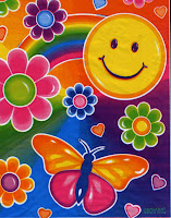 psychedelic, brightly colored painting of smiley face