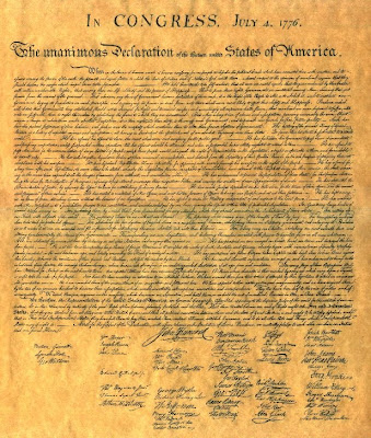 photo of actual declaration of independence