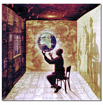 painting of man in a chair supporting a globe