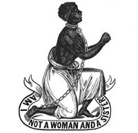 abolitionist logo, female slave in chains, quote Am I not a sister too