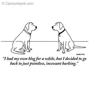 dog had blog but went back to pointless barking