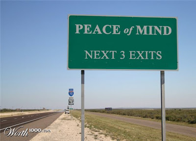 road sign, peace of mind next three exits