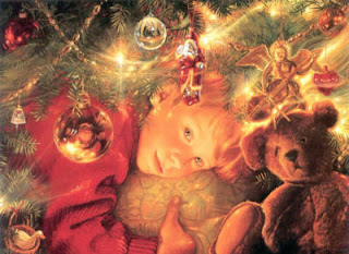 painting of child hugging teddy bear dreamily under Christmas tree