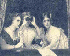 three Victorian women seen sitting in an open window