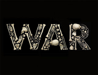 war spelled out in human bones on black background
