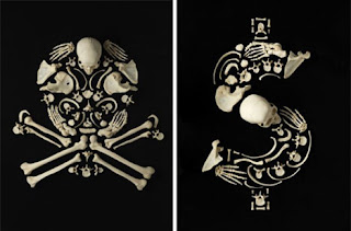 jolly Rodger and dollar sign in human bones on black background