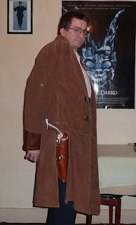 Customer Stephen in his Malcolm Reynolds Browncoat from Serenity / Firefly