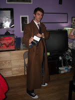 Thomas in his Doctor Who Tenth Doctor's Coat (with psychic paper!)